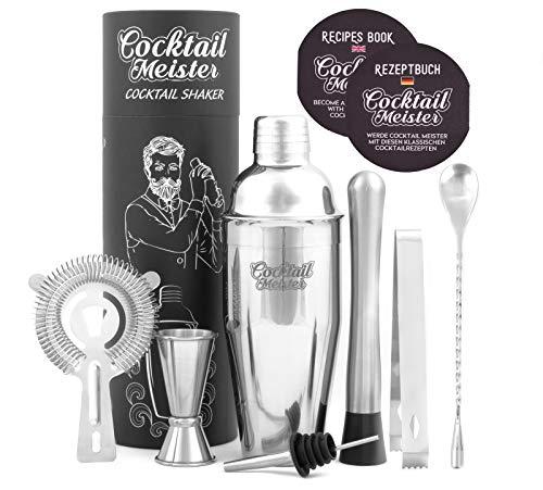 CocktailMeister Premium Cocktail Shaker Set, Professional Cocktail Mixing Set, Cocktail Set Ideal für Zuhause oder die Bar, Shaker, Cocktailbuch, Japanisches...