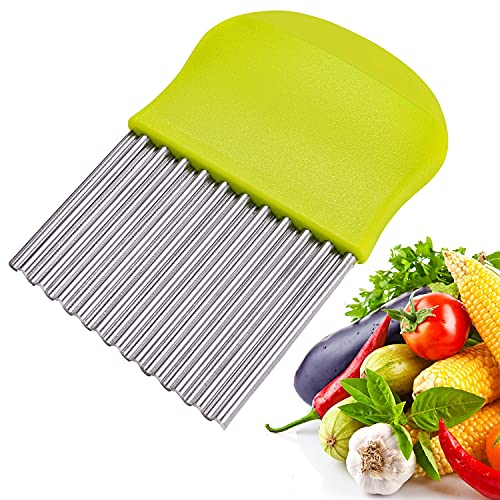 Gemüsehobel Wellenschneider Edelstahl, Wellenmesser Kartoffelschneider zum Schneiden Kartoffeln, Süßkartoffeln und Obst oder Gemüse und Butter (Grün)