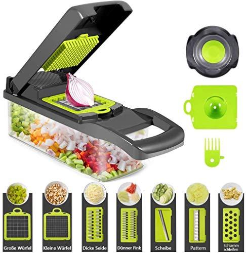 Gemüseschneider Gemüse Schneider, Food Chopper Slicer,Lebensmittelschneider, Kartoffel, Obst und Käse, Multifunktions-Klingen, Zerkleinerer Hobel + 7...