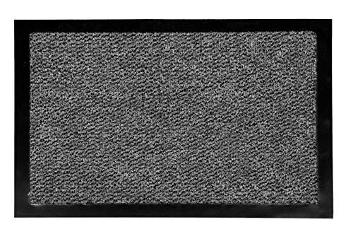 Carpido Fußmatte 80x120 cm für den Innenbereich - Türvorleger schnelltrocknend - Rutschfester Sauberlauf anthrazit - Schlichter Fußabstreifer
