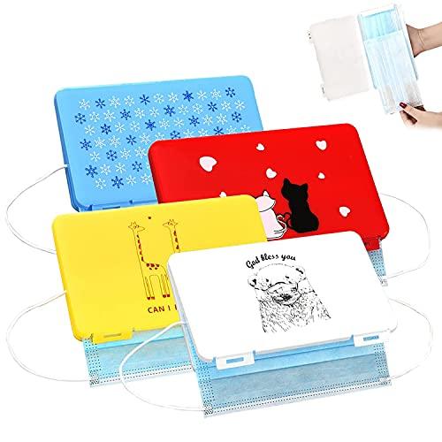 WELLXUNK® Masken Aufbewahrungstasche, 4 Stück Tragbare Maskenbox, Aufbewahrungsbox für Staubmasken, Masken Etui, ideal zur Aufbewahrung von Masken zur...