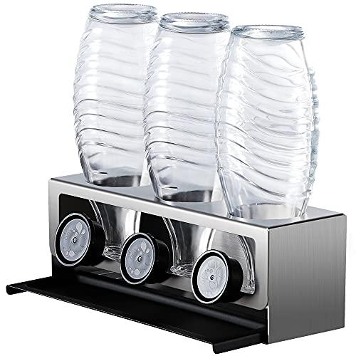 YIGII Flaschenhalter für SodaStream - Premium Abtropfhalter aus Edelstahl Abtropfständer mit Abtropfwanne für 3 SodaStream Crystal | Emil Flaschen