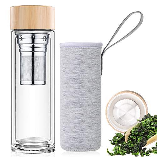 Zaloife Teeflasche mit Sieb 450 ml, Doppelwandige Teebereiter Glas, Isoliert, Tee Glasflasche, Tee-Flasche Trinkflasche, Thermosflasche Glas, Teebecher to go,...
