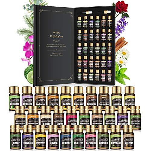 Ätherische Öle Set - 30 Düfte x 5ml - Einsteigerin Rein Öle Natürliche - duftöl, ätherische Öle für diffuser - Aromatherapie, Massage,Entspannung,...