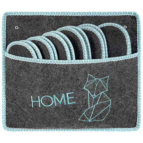 ONVAYA® ABS Gästepantoffel   Fuchs - Home  6er Set   Antirutsch Sohle   Hausschuhe   Filzpantoffel   Gr. 36-45 Gästehausschuhe