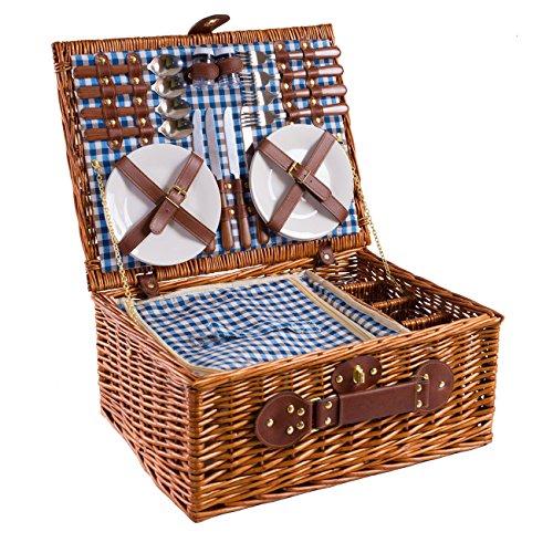 eGenuss Handgefertigtes Picknickkorb für 4 Personen - Inklusive Edelstahlbesteck, Kühlfach, Weingläser und Keramikteller – Blaues Gingham-Muster 47x34x20...