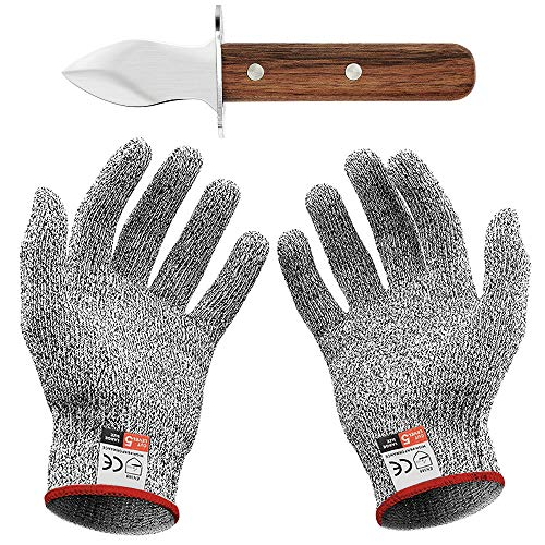 Oyster Knife Set mit Austernmesser und Schnittfeste Handschuhe Austernöffner und Schnittschutzhandschuhe für Muscheln oder Hartkäse geeignet - oyster knife...