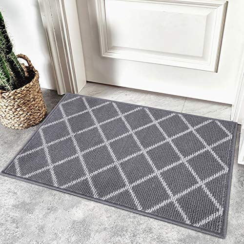 Homaxy rutschfest Fußmatte Waschbar Schmutzfangmatte Fussmatte Aussen Pflegeleichte Sauberlaufmatte Türmatte für Innen & Außen - 60 x 90 cm, Diamant Grau