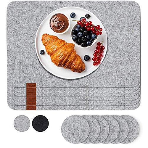 Luana Rose Platzsets aus Filz 12er Set in Hell-Grau - Tischset abwischbar - 44x32 cm Filzuntersetzer - Hochwertige Platzdeckchen abwaschbar in Grau -...