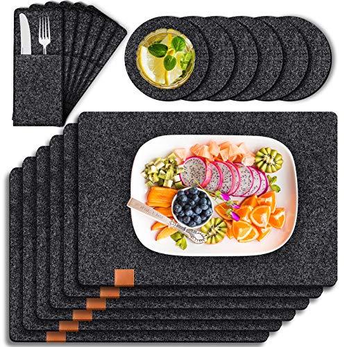 Tendak Filz Tischsets Platzset, mit 6 Tischset Abwischbar 44x32cm, 6 Untersetzer und 6 Besteckbeutel,Hitzebeständig und waschbar, Tischset Set aus...