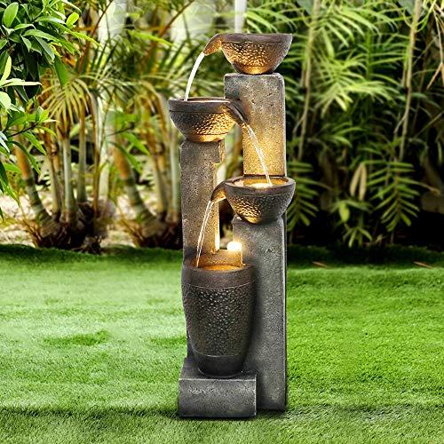 WATURE 101cm Gartenwasserspiel - Moderner Outdoor Gartenbrunnen mit beruhigende Wassergeräusche, Elektrisches LED-Licht Wasserfall Schöner Wasserbrunnen für...