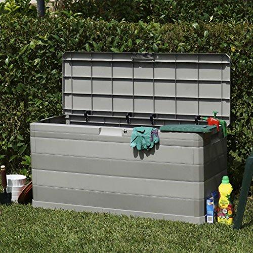 Ksodgun Gartenbox Gartenmöbel Balkon Garten Kissenbox Gartentruhe zum Organisieren und Aufbewahren Grau 117×45×56 cm
