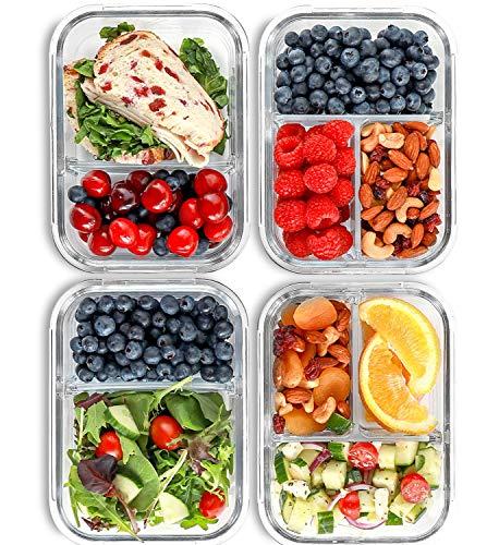 2 & 3 Fächer Glas Meal Prep Behälter [4er Pack, 950 ML] - Lebensmittel-Behälter mit Deckel, BPA-freie Lebensmittel-Prep Behälter, Bento Boxen, Brotdose,...