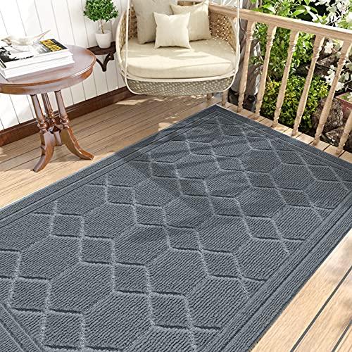 DEXI Fußmatte 90 x 150 cm,rutschfeste Schmutzfangmatte für Innen und Außen,Waschbar Haustürmatte Türmatte Teppiche Eingangsteppich,Hellgrau