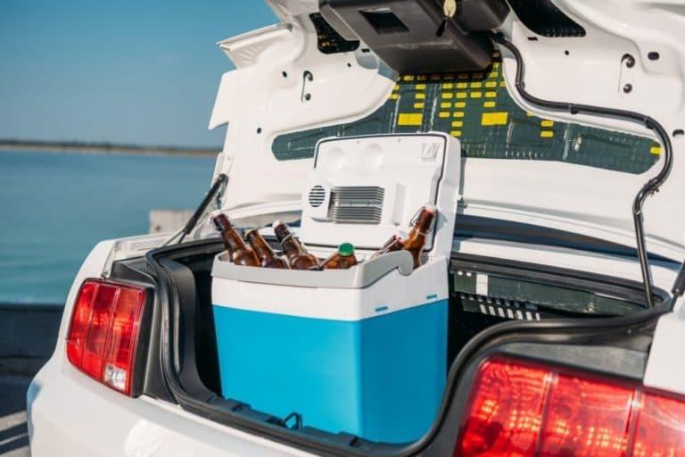 Eine Kompressor Kühlbox steht im Kofferraum